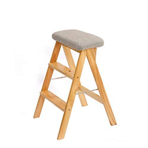 CKH Kruk massief hout creatieve vouwen Kruk eenvoudige vouwen ladder Kruk Keuken Kruk Draagbare Kruk Grijs Mat