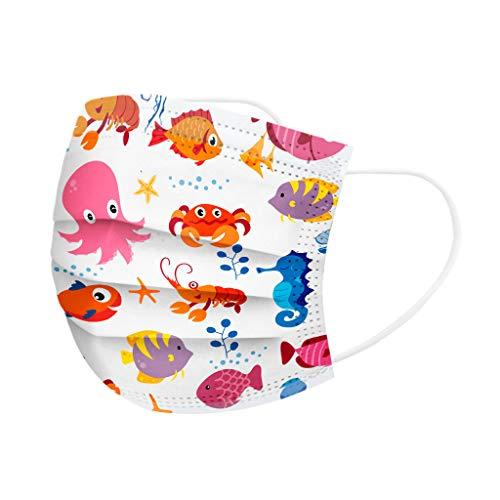 MOTOCO Kinder 10/20/30/40/50/100 Pcs Face Cover Mund-und-Nasenschutz Atmungsaktiv Bandanas Sonnenschutz Outdoor Essentials für Schule(C10)