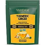 VAHDAM, Bio-Kurkuma + Ingwer-Kräutertee (100 Teebeutel | Kraftvolles Superfood|Wellness und heilende Eigenschaften von Kurkuma & Ingwer| 100% natürlich| Kein Koffein, hilft Verdauung