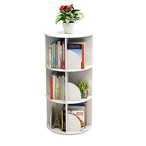 Librerías Estante para Libros Estantería giratoria Creativa Biblioteca Blanca estantería Simple Estudiante Estante Multicapa (Color : Blanco, Size : 40x40x97cm)