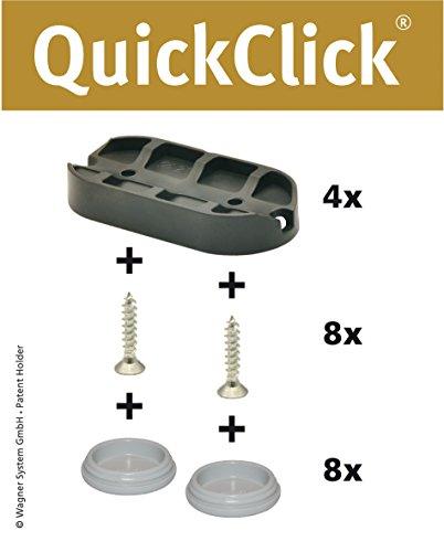 WAGNER QuickClick® Stuhlgleiter I 4er-Set zum Anschrauben, für Freischwinger I - HYPER - 52 x 25 mm - 15831700