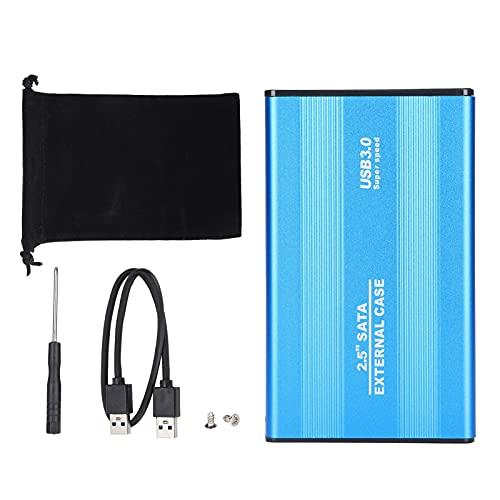 Caja de Disco Duro Externo USB 3.0 de 2,5 Pulgadas, Caja de Disco Duro SSD y HDD portátil de 3 TB, sin Herramientas, para Windows 98/2000 / XP/Vista / windows7 / iOS/Linux(Azul)