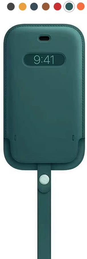ALA7 Artificial Leather Sleeve with MagSafe& Wrist Strap for iPhone 12 Mini, MagSafe Wallet with Card Holder Support Wireless Fast Charge (Dark Green)