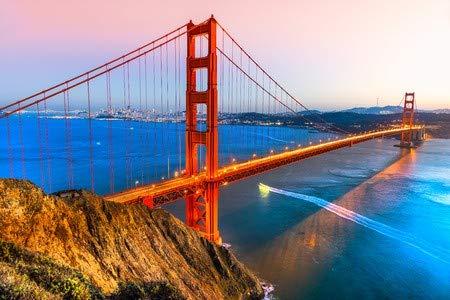 adrium Alu-Dibond-Bild 80 x 50 cm: Golden Gate Bridge, San Francisco, California, USA, Bild auf Alu-Dibond