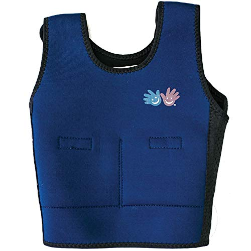 Fun and Function - Blue Weighted Compression Vest for Kids - Helps with Sensory Issues, Autism, ADHD, Sensory Over Responding - Weighted Vest for Anxiety Relief - Includes Removable Weights (Small)