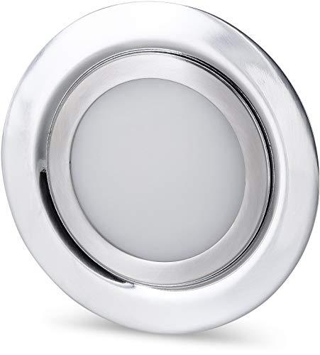 Spot LED fin encastrable pour meuble - Entièrement en métal - IP44 - 12 V - Mini AMP - 4 W - 330 lm - Compatible avec boîtier encastré - Diamètre : 60 mm - Fer brossé - Blanc chaud (3000 K)