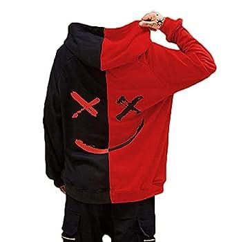 Mens Boys Fashion Hooded Jerseys Long Sleeve Contrast Color Smile Hip-Hop Sweatshirt Hoodies  M Black-Red