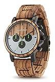 LAiMER orologio in legno di zebrano - INGO - orologio da polso cronografo Uomo - analogico, funzione di arresto, indicatore 24 ore, lancette luminescente, Ø43mm - Imballaggio in legno - Zero Waste