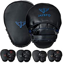 JAYEFO Glorious Punch Mitts Speed Focus Bags Mitts Punching MMA Muay Thai Boxing Pads Target Curved Gloves Training Hand Target for Kids, Youth, Men & Women Kickboxing… (Black/Blue)