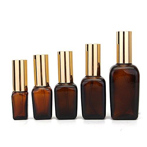 Bluelover 5Pcs Flacons De Pipettes Liquides en Verre Ambre pour Toner Parfum Huile Essentielle - 20Ml