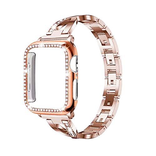 DAAGFC Caja de la Correa + Adecuado para el Reloj de Apple 5/4/3/2/1 Pulsera de Diamante de Cristal de Acero Inoxidable 38 mm 40 mm 42mm 44mm para iWatch Metal Band