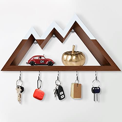 Mountain Shelf with Key Holders for Wall Decor with 5 Hooks, 3 Mountain Peaks Key Hangers Triangle Shelf Mountain Decor Key Rack Woodland Decor