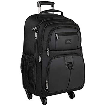 Rolling Backpack for Travel 4 Wheels Laptop Backpack for Women Men Water Resistant Business Large Wheeled Backpacks Fits 15.6 Inch Notebook MATEIN School Luggage Suitcase Bag with Pockets