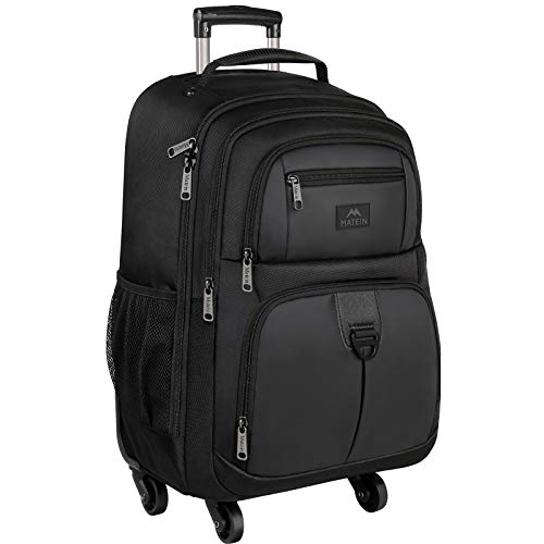 Rolling Backpack for Travel, 4 Wheels Laptop Backpack for Women Men, Water Resistant Business Large Wheeled Backpacks Fits 15.6 Inch Notebook, MATEIN School Luggage Suitcase Bag with Pockets