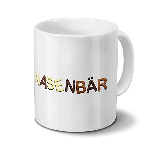 printplanet Tasse mit Namen Nasenbär - Motiv Schokoladenbuchstaben - Namenstasse, Kaffeebecher, Mug, Becher, Kaffeetasse - Farbe Weiß