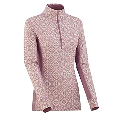 Kari Traa Women's Rose Base Layer Top - Half Zip 100% Merino Wool Thermal Shirt Petal X -Large