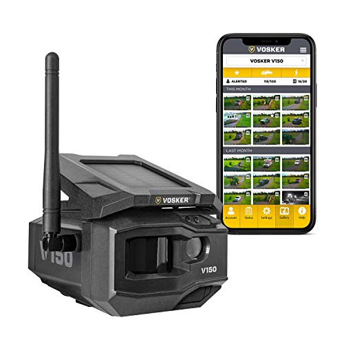 VOSKER V150 | LTE Cellular Security Camera, No Wi-Fi Needed | Solar-Powered Wireless Outdoor Surveillance Camera | Receive Photos on Your Mobile App from Virtually Anywhere | Weather-Resistant IP65