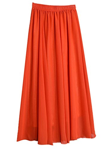 FEOYA Damen Doppelte Schicht Chiffon Rock Strandrock Einfarbig Plissee Maxirock Elastischer Taillen Langer Rock Faltenrock Sommerrock - Orangerot