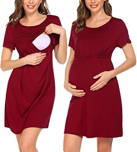 UNibelle Vestido de lactancia de manga corta para mujer, para embarazo, para verano, tallas S-XXL, Color rojo vino., S