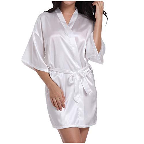 Novia Pijamas Mujeres Boda Nupcial Ropa de Dormir Albornoz Regalo de Dama de Honor Kimono Ropa de Dormir Seda Sexy Albornoz de Novia (2XL, Blanco)
