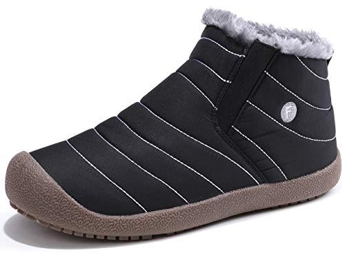 [SIXSPACE] スノーブーツ メンズ レディース ショート ブーツ スノーシューズ 防水 防寒 防滑 保暖 裏起毛 冬用 カジュアル 綿靴 雪靴 ブラック 26.5cm