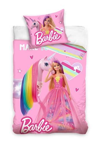 Funda nórdica para cama de Barbie, para niñas, princesa, unicornio, tamaño 140 x 200 cm, con funda de almohada de 70 x 90 cm