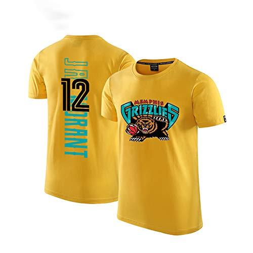 T-Shirt pour Hommes Ja Morant 12Memphis Grizzlies Fan T-Shirt de Basket-Ball Porter Un t-Shirt de Sport en Mesh Respirant Confortable-Yellow-M