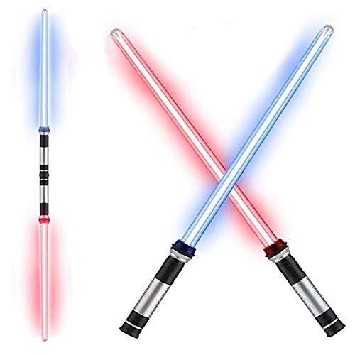 TelescóPico Doble Sable 2 Piezas Descoloramiento Star Wars- Sable Scream ElectróNica con Efectos de Sonido Sables de Luz Juguete CumpleañOs Regalo Navidad Espada Ligera