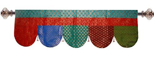 Baumwolle Craft 100% Jute Jute Natur Fenster Volant–Set von 2–Größe 182,9cm by 40,6cm–Made aus 100% natürlichen Jute 15x50 Sari Border Multi