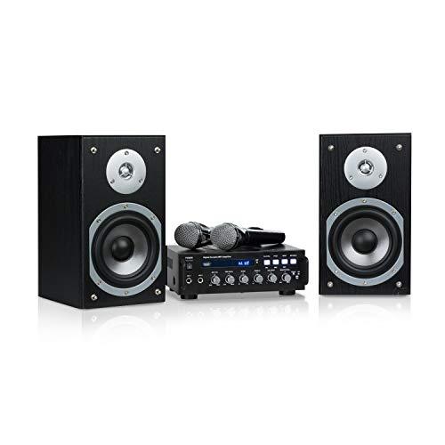 auna Karaoke Star - Equipo de Karaoke, USB, Reproduce MP3, Bluetooth, Amplificador, 2 Altavoces, Entrada de línea, Cable de Altavoces, 2X Micrófono, Potencia máx de 2 x 75 W, Negro
