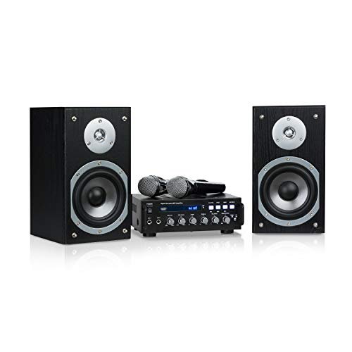 Auna Karaoke Star 3 Karaoke-Set • Sistema Karaoke • Impianto Karaoke • 2 x 75 W max. • Bluetooth • Ingresso USB • Compresi Microfoni e Cavi per Altoparltanti • Colore Nero