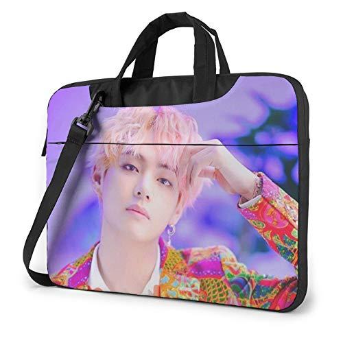 BTS Kim Tae-Hyung Laptop Case Compatible Shockproof MacBook Shoulder Bag with Removable Strap,2 Outer Pocket,Zipper for Tablet Multifunctional Computer Handbag Lightweight Briefcase 13 Inch