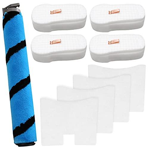 4 Pack Foam & Felt Filter Kit Vacuum Filters, 1 Pack Soft Roller Replacement for Shark HZ2002 HZ2000 Vertex Corded Ultralight DuoClean PowerFins Stick Vacuum, for Part XFFKHZ2000, 125CU2002