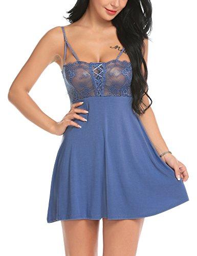 Damen Sexy Babydoll Dessous Set Spitze Bodysuit mit Tanga Negligee mit String Reizwäsche Unterwäsche Babydoll Lingerie Erotic Nachtwäsche Blau L