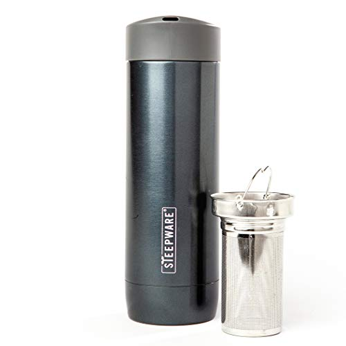 The Tea Spot, Voyager Tea Tumbler, Double-Wall Insulated Stainless Steel Tumbler with removable tea infuser for hot and cold brewing, Spa water infuser (Obsidian, 16 oz)