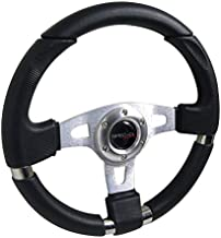 Spec-D Tuning Jdm Black Leather 340Mm Jet Style Racing Steering Wheel