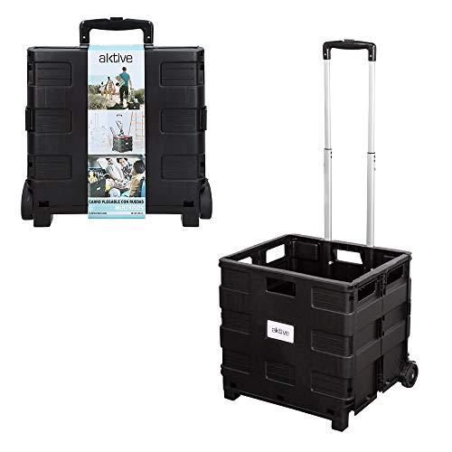 AKTIVE 82126 - Carrito de la compra trolley plegable negro AKTIVE
