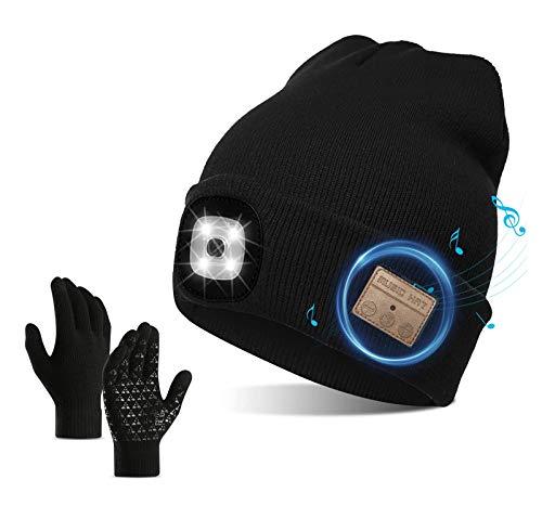 QKTYB Gorro inalámbrico Bluetooth con Faro LED V5.0 Guantes de Pantalla táctil...