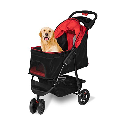 Three Wheel Pet Stroller Portable Pet Carrier Stroller for Dogs Cats Pet Cart with Storage Basket and Cup Holders, Red