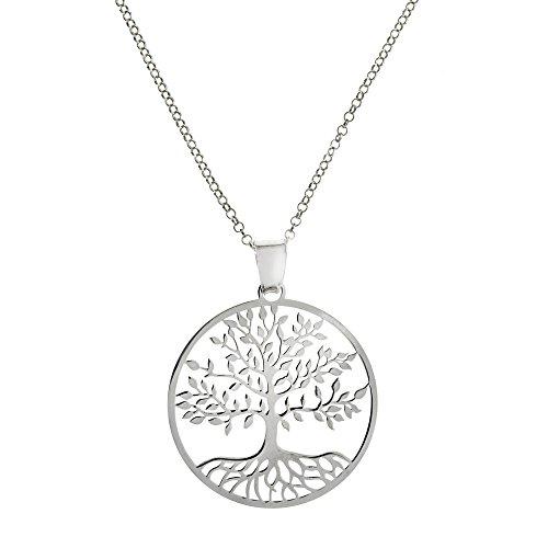 Córdoba Jewels   Gargantilla en Plata de Ley 925 bañada en rodio Diseño Gran Árbol de la Vida de 29 x 29 mm