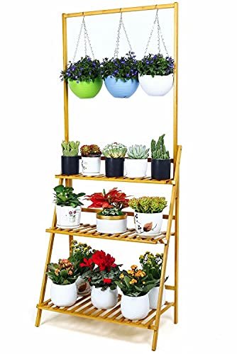 foldify Bamboo 3-Tier Adjusted Hanging Plant Stand Indoor Outdoor Multiple Plant...