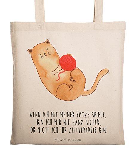 Mr. & Mrs. Panda Umhängetasche, Shopper, Tragetasche Katzen Wollknäul mit Spruch - Farbe Transparent
