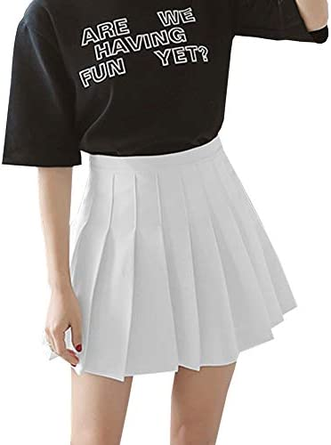 Women s Girls High Waisted Pleated Skater Tennis School Skirt Uniform Skirts with Lining Shorts product image