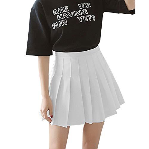 Frecoccialo Mini Gonna a Pieghe Sexy da Donna della Scuola Skater Gonna da Tennis a Vita Alta Gonne Uniformi Pattinatore Pieghettato (Bianco,M)