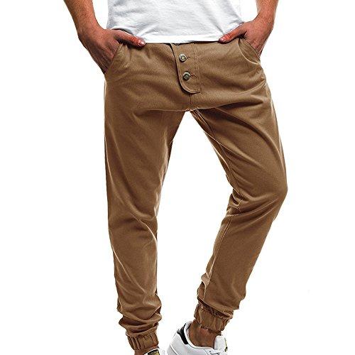 Celucke Enge Jogginghose Herren mit Knopf Beiläufige Slim Fit,Männer Freizeithosen Mode Sport Kordelzug Hosen