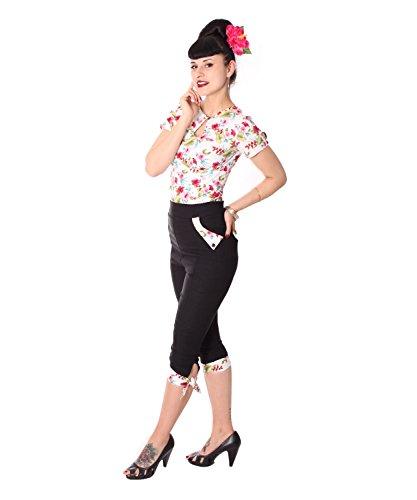 SugarShock Latisha Damen Caprihose Hawaii 3/4 Hose, Größe:XL, Farbe:schwarz Weiss