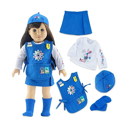 18 Inch Doll Clothes for American Girl Dolls | Doll Daisy Girl Scout-Inspired 5 Piece Uniform, Including Tunic with Embroidered Patches! | Gift Boxed! | Fits 18' Our Generation and Journey Girls Dolls