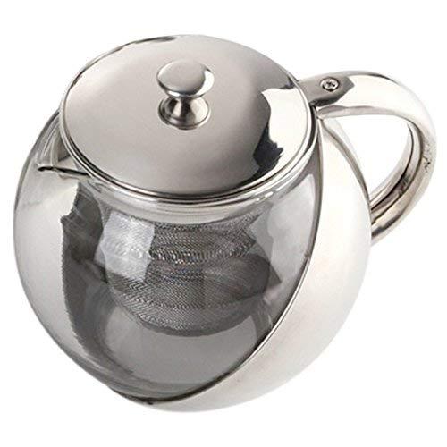 ZXY-NAN Ceramic Hoja de té de acero inoxidable moderna con estilo+Tetera de cristal con Loose infusor accesorios de plata