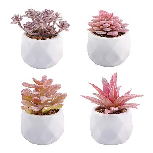 VINFUTUR 4pcs Suculentas Artificiales Decorativas Plantas con Maceta Cerámica Plantas Decoración Adornos...