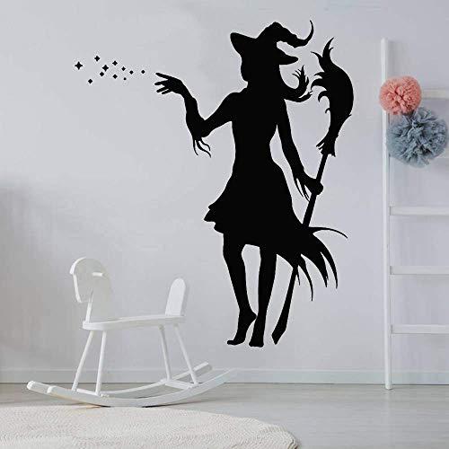 Kleuterschool Kindersprookjesachtige muurstickers magische heks met bezem Vinyl muurstickers versierd slaapkamer woonkamer decoratie 42x49cm